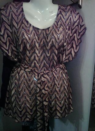 Очень интересная блуза-туника с пояском размер евро 14, укр 50