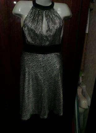 Платье шелк атлас зебра юбка на подкладке 48-50 укр