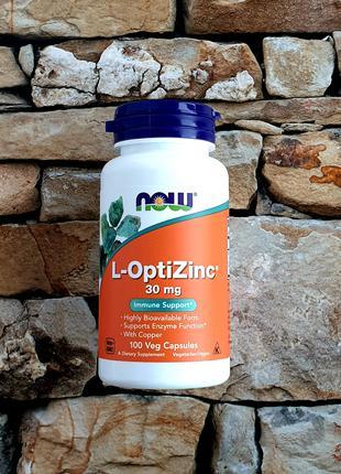 Now Foods, L-OptiZinc, 30 мг 100 растительных капсул🍀