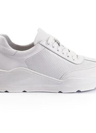 Модные кожаные кроссовки Brand, женские, белые, деми, р. 36-41