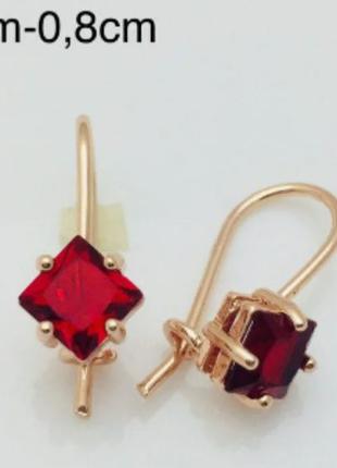 Серьги Fallon классика красный камень позолота 18К