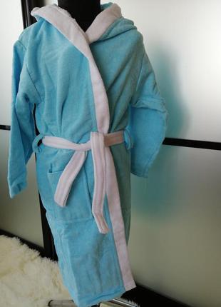 Махровый халат 9-10 лет. натуральный хлопковый котоновый халат...
