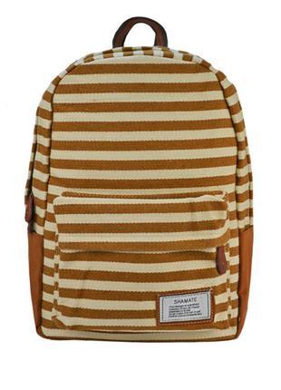Мужской городской рюкзак коричневый в полоску 17 литров
