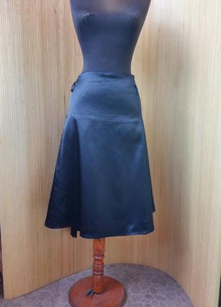 Чёрная атласная юбка в складу xxxl