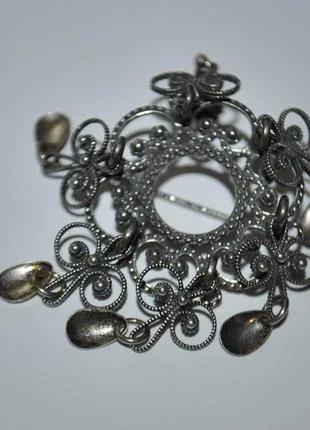 Винтажная европейская серебряная брошь, филигрань
