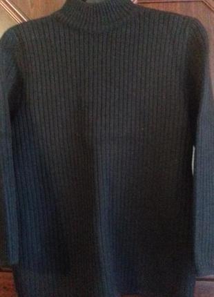 Черная плотная шерстяная водолазка-свитер