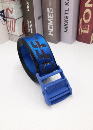 Ремень пояс off white original belt  синий с синей пряжкой  15...