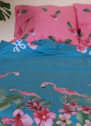 Комплект постельного белья с фламинго