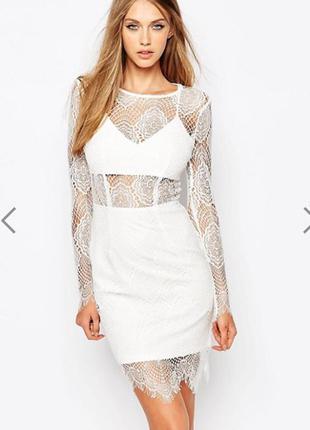 Платье вечернее ажурное кружевное missguided размер 8