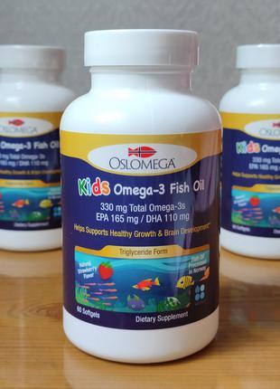 Детский рыбий жир, омега-3 для детей Oslomega Kids.