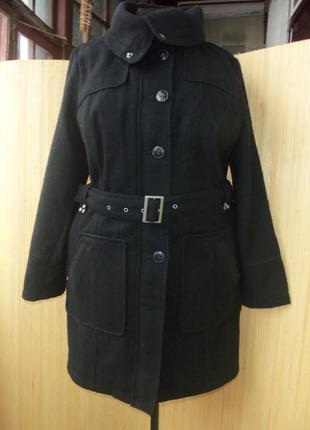 Тёплое немецкое шерстяное пальто с поясом leross xl