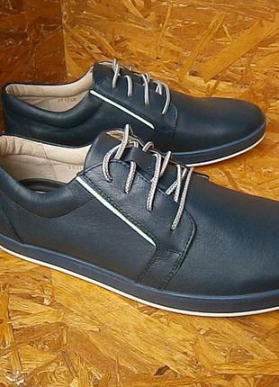 Кеды мужские спортивные туфли синие кожаные
