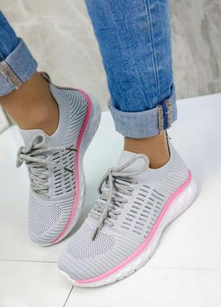 Сірі текстильні кросівки повномірні жіночі