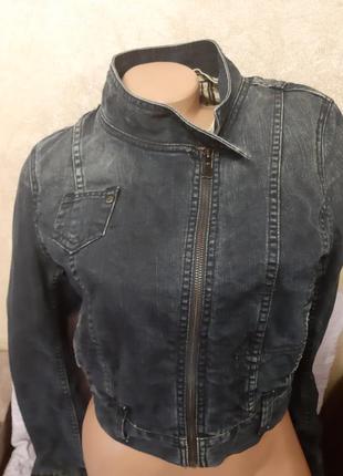 Трендовая джинсовая, коттоновая куртка,укороченная, h&m,p.38