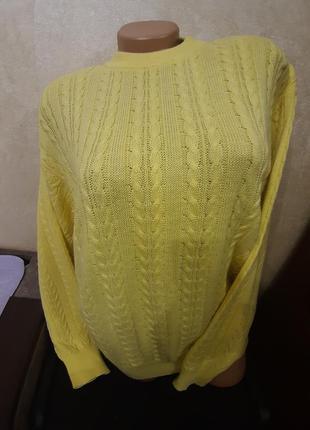 Обалденный удлинённый желтый, лимонный джемпер, пуловер,свитер...