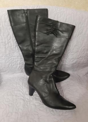 Демисезонные черные кожаные сапоги на каблуке, кожа, р.38,5-39