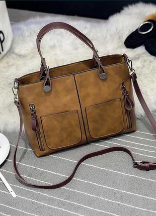 Женская сумка с карманами prestige рыжая