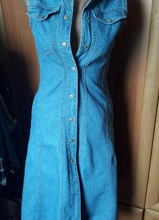 Супер сарафан платье джинсовое халат трапеция миди