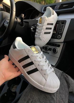 Женские кожаные кроссовки adidas superstar white/black ✰ белог...