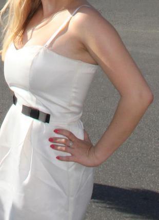 Белое платье,нежное платье oodji, без рукавов платье,коктейльн...