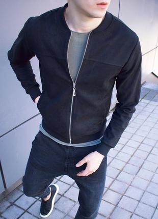 Мужской замшевый бомбер ветровка курточка