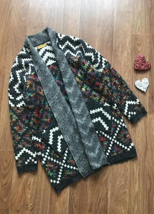 Очень крутая накидка пальто кофта вязанная оверсайс