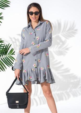 Платье с цветочной вышивкой коттон