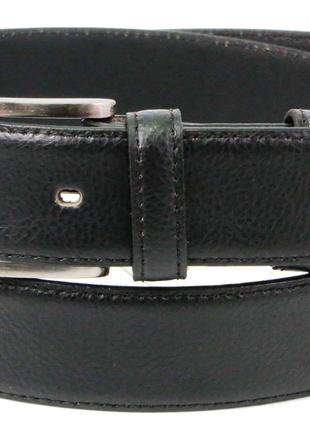 Ремень мужской для брюк из кожи Always Wild черный 3,4 см