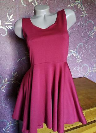Летнее бордовое платье с юбкой солнце cotton candy