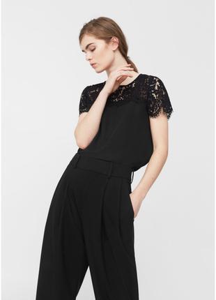 Блузка Mango с кружевом белый черный XS S M