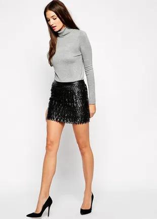 Черная кожаная мини-юбка Sisley