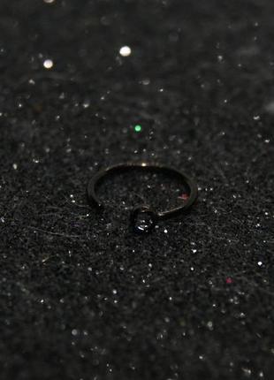 Пирсинг кольцо в нос с камнем  8 мм  черный