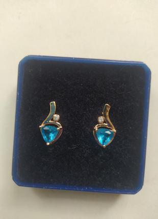 Серьги позолоченные с бирюзовым синим голубым камнем