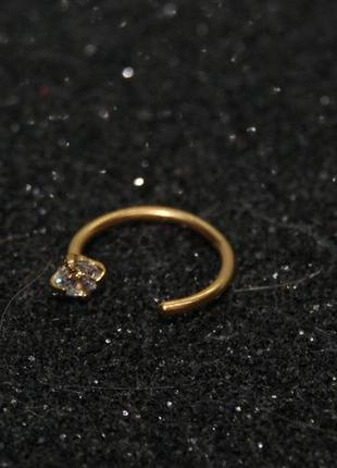 Пирсинг кольцо в нос с камнем 8 мм цвет желтое золото