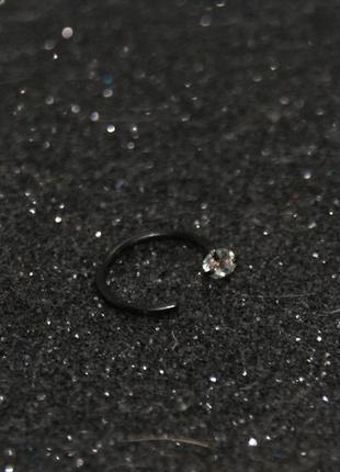 Пирсинг кольцо в нос с камнем 8 мм цвет черный
