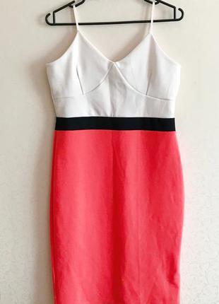 Платье миди, коралловый цвет, платье на лето, летнее платье