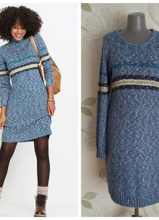 Платье трикотажное вязаное миди синее теплое демисезонное зимнее