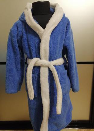 Детский махровый синий халат с ушками 8-10 и 9-10 лет. есть цв...