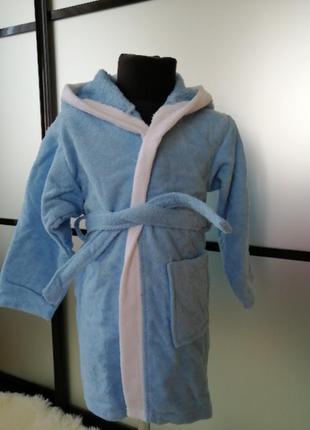 Махровый халат 5-6 лет. натуральный хлопковый котоновый халат....