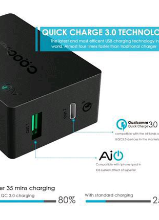Зарядное устройство Cooc smart PA-Y2 USB Type C Quick Charge 3.0