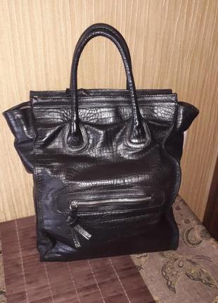 Большая вместительная сумка из натуральной кожи ручная работа ...