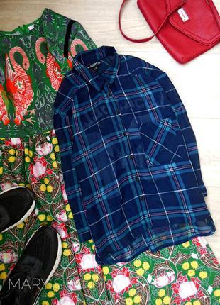 Шифоновая блузка в клетку синий+бирюза (зеленый)