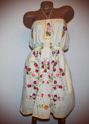 Платье сарафан супер стильное, марлевка шитье, индия