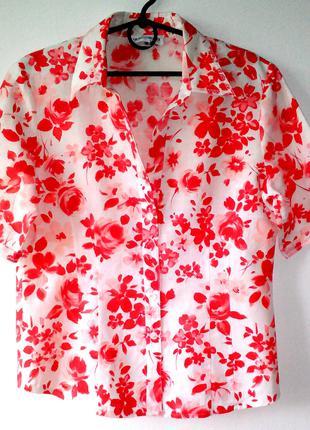 Льняная блуза, льняная блузка в цветочек, качественная блуза