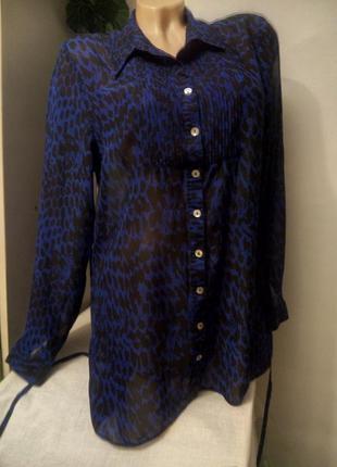 Блузка туника синяя шифон звериный принт