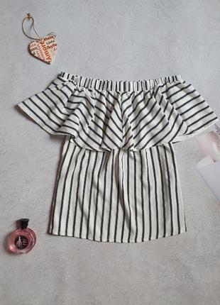 Полосатая блузка со спущенными плечами р.l pep&co
