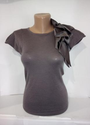 Блуза кофточка с атласным бантом на плече mango uk 10/38/s