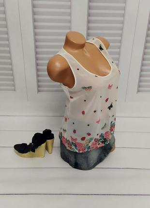 Блуза белая, топ, футболка, майка, s/m