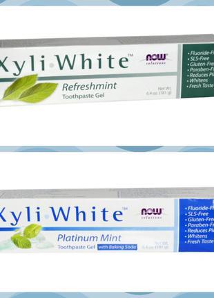 Органическая зубная паста-гель без фтора Xyli-White,  Now Foods,