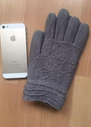 Женские сенсорные перчатки однотонные (3 пальца)